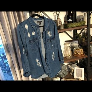 Denim distress shirt